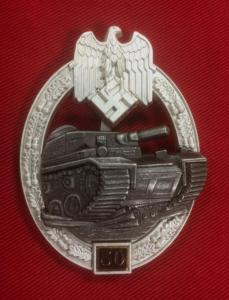Replica WW2 German Army Numbered Panzer Assault Badge 50