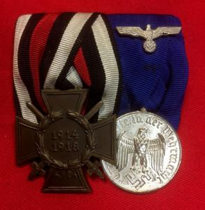 WW2 German Court Mounted Cross Of Honour & Army Long Service