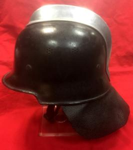 WW2 German M34 Feuerschutzpolizei Helmet With Comb And Neck Guard