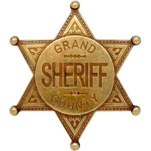 Code: G113/L Replica Gold Coloured Grand County Sheriff Badge
