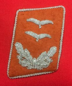 WW2 German Luftwaffe Signals Oberleutnant Collar Patch