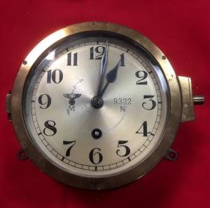WW2 German Kriegsmarine Brass Surface Ship and U boat Clock