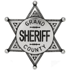 Code: G113/NQ  Replica Nickel Coloured Grand County Sheriff Badge