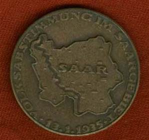 WW2 German Bronze Medallion for Saar Reunification With Germany