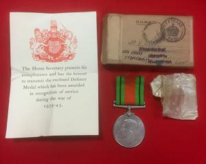 WW2 British Defence Medal With Box And Paperwork Slip