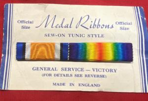 WW1 British War & Victory Pair Ribbon Bar On Issue Card