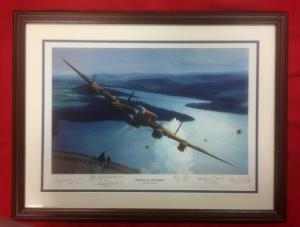 R.A.F. Dambusters 'Gibson Over The Mohne' Framed Signed Print.