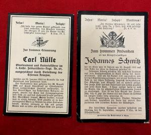 WW1 Imperial German Death Cards